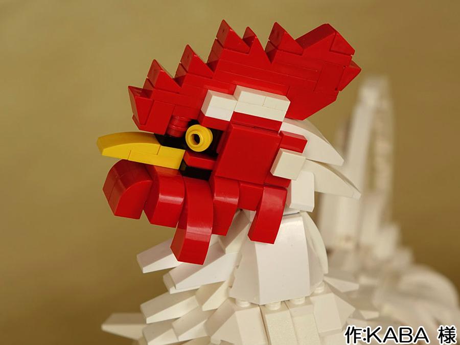レゴのリアルなニワトリ顔アップ